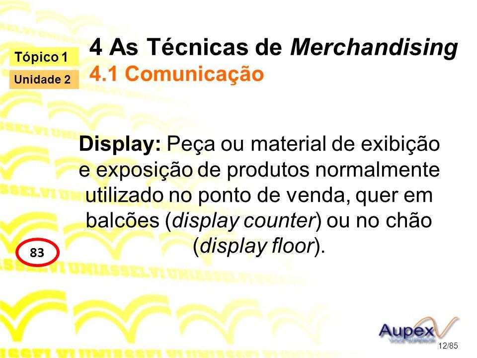 4 As Técnicas de Merchandising 4.1 Comunicação Display: Peça ou material de exibição e exposição de produtos normalmente utilizado no ponto de venda,