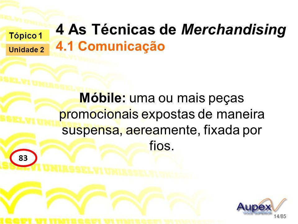 4 As Técnicas de Merchandising 4.1 Comunicação Móbile: uma ou mais peças promocionais expostas de maneira suspensa, aereamente, fixada por fios. 14/85