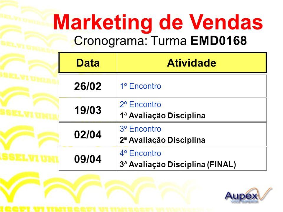 Cronograma: Turma EMD0168 Marketing de Vendas DataAtividade 26/02 1º Encontro 02/04 3º Encontro 2ª Avaliação Disciplina 09/04 4º Encontro 3ª Avaliação