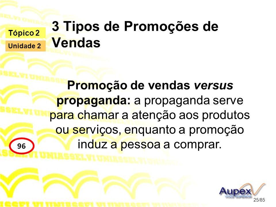 3 Tipos de Promoções de Vendas Promoção de vendas versus propaganda: a propaganda serve para chamar a atenção aos produtos ou serviços, enquanto a pro