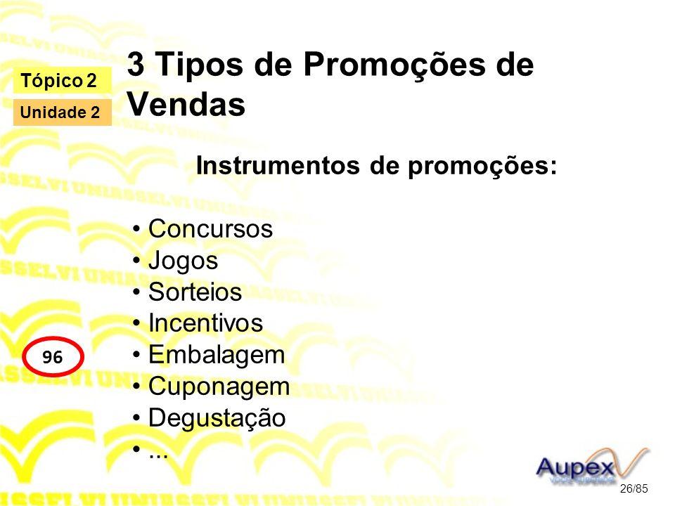 3 Tipos de Promoções de Vendas Instrumentos de promoções: Concursos Jogos Sorteios Incentivos Embalagem Cuponagem Degustação... 26/85 Tópico 2 96 Unid