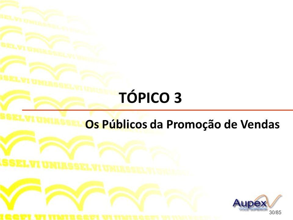 TÓPICO 3 30/85 Os Públicos da Promoção de Vendas