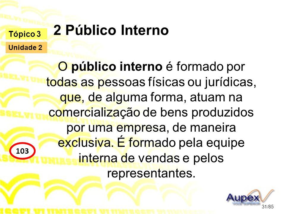 2 Público Interno O público interno é formado por todas as pessoas físicas ou jurídicas, que, de alguma forma, atuam na comercialização de bens produz