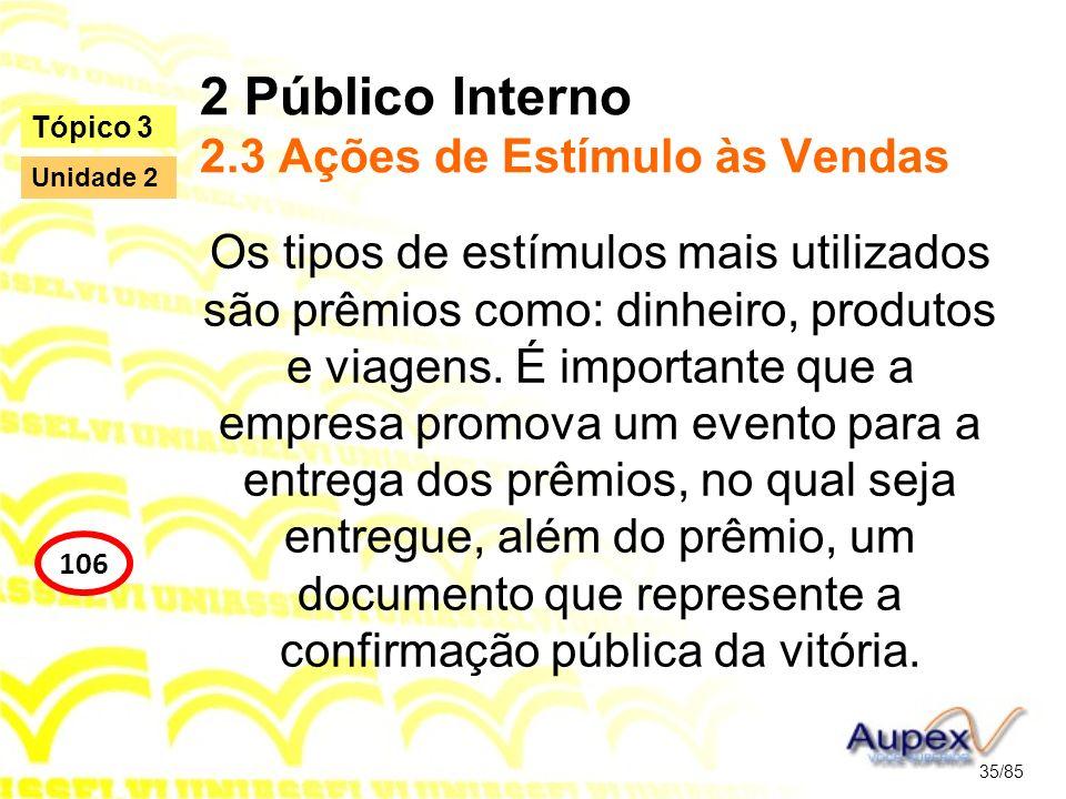 2 Público Interno 2.3 Ações de Estímulo às Vendas Os tipos de estímulos mais utilizados são prêmios como: dinheiro, produtos e viagens. É importante q