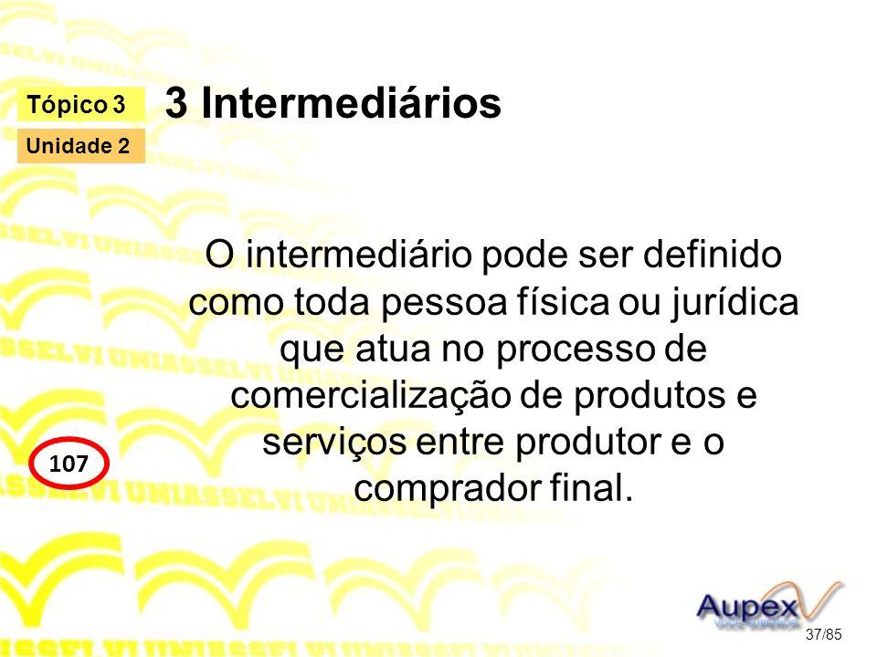 3 Intermediários O intermediário pode ser definido como toda pessoa física ou jurídica que atua no processo de comercialização de produtos e serviços