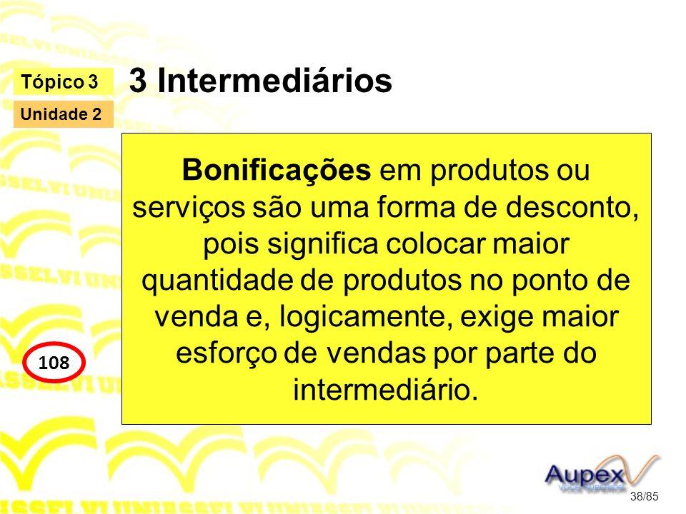 3 Intermediários Bonificações em produtos ou serviços são uma forma de desconto, pois significa colocar maior quantidade de produtos no ponto de venda