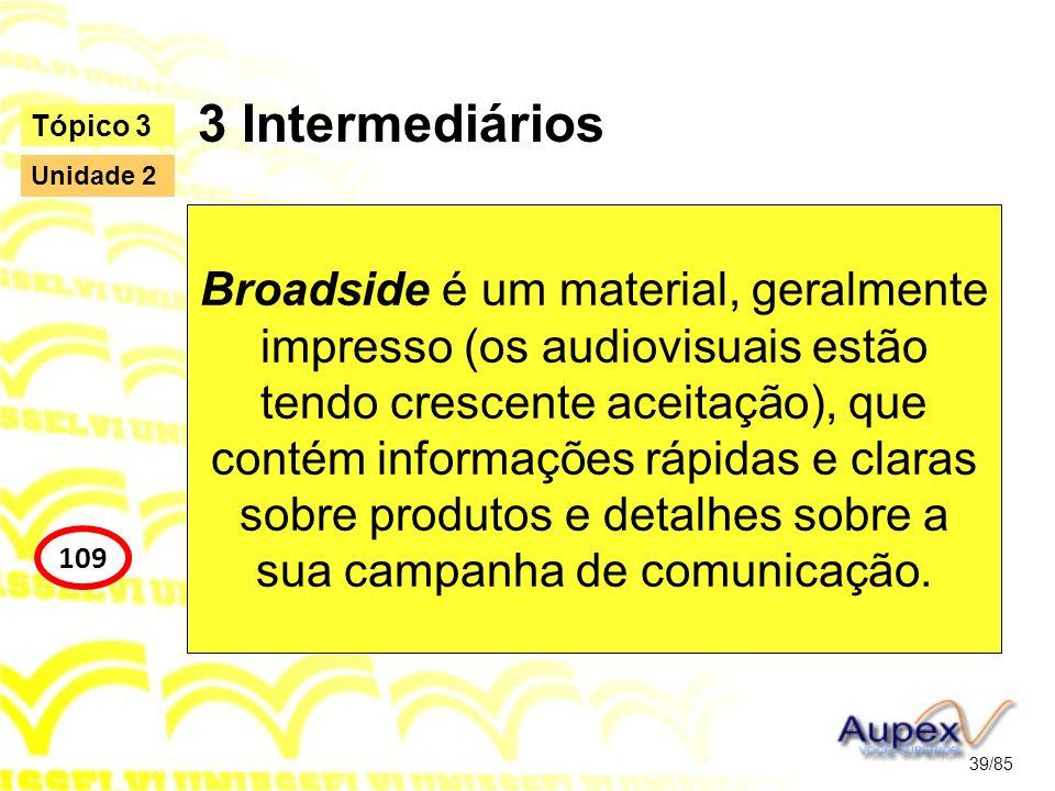 3 Intermediários Broadside é um material, geralmente impresso (os audiovisuais estão tendo crescente aceitação), que contém informações rápidas e clar