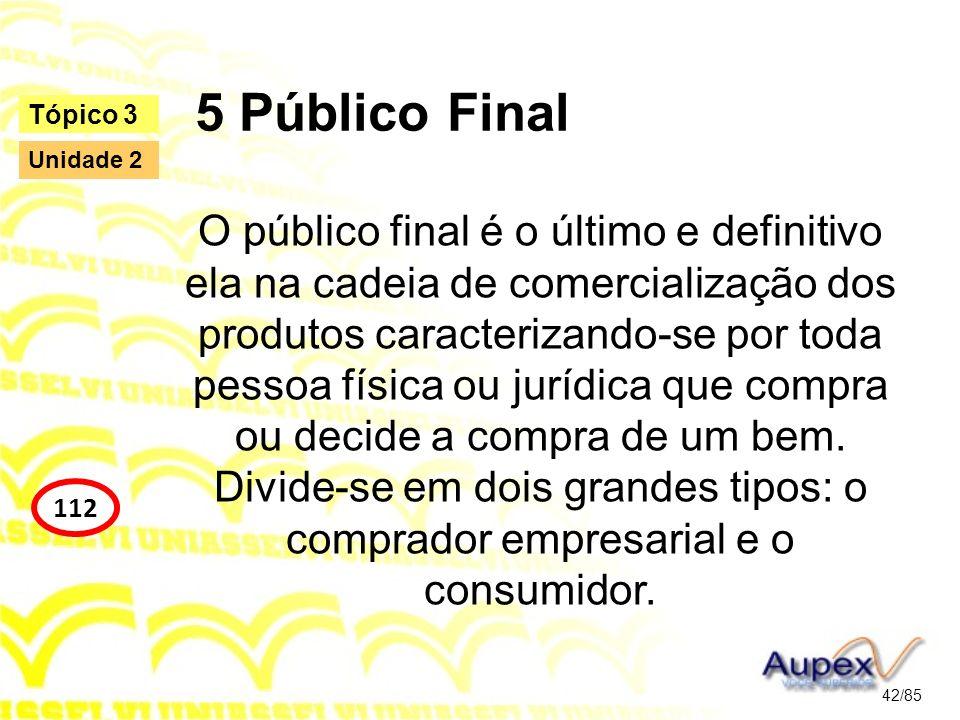 5 Público Final O público final é o último e definitivo ela na cadeia de comercialização dos produtos caracterizando-se por toda pessoa física ou jurí