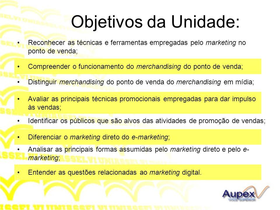 Objetivos da Unidade: Reconhecer as técnicas e ferramentas empregadas pelo marketing no ponto de venda; Compreender o funcionamento do merchandising d