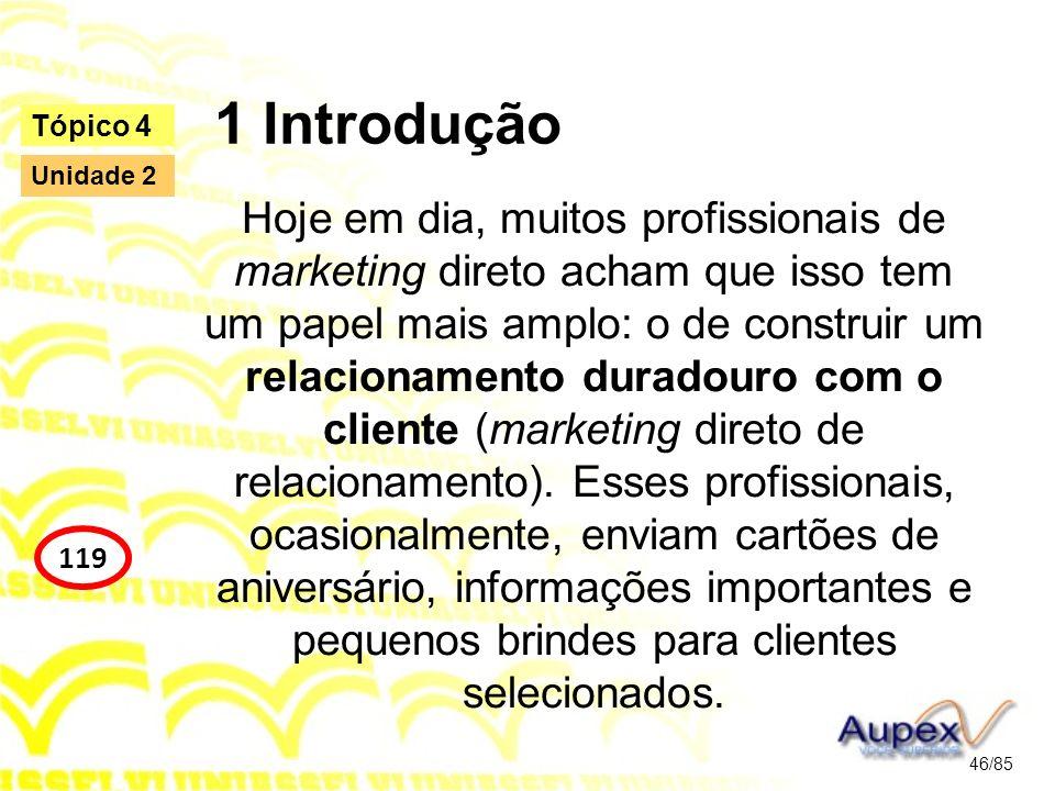 1 Introdução Hoje em dia, muitos profissionais de marketing direto acham que isso tem um papel mais amplo: o de construir um relacionamento duradouro