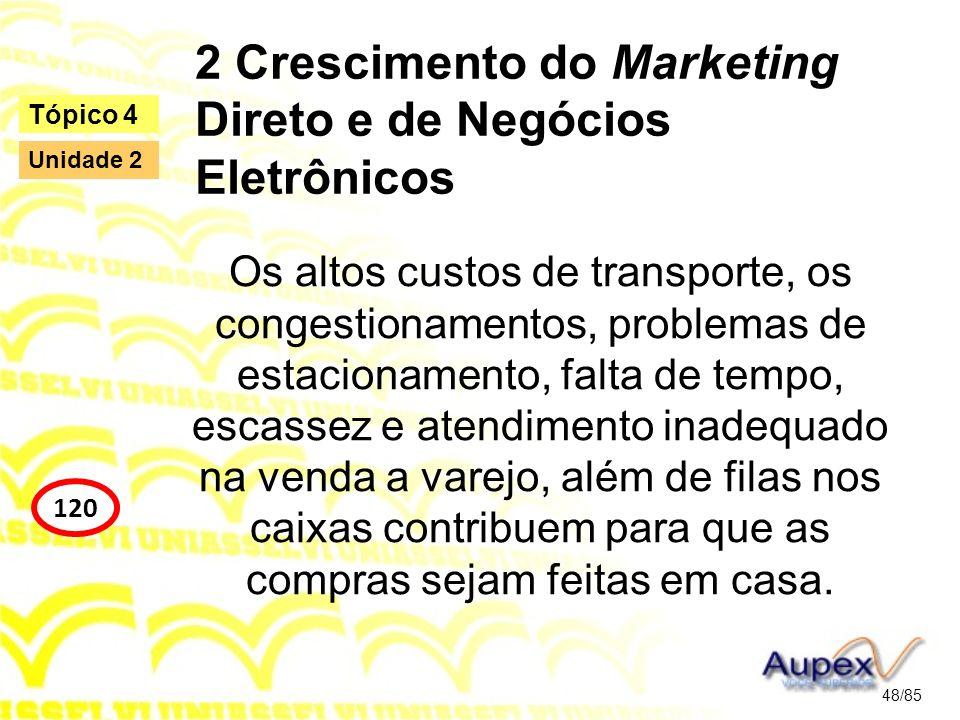2 Crescimento do Marketing Direto e de Negócios Eletrônicos Os altos custos de transporte, os congestionamentos, problemas de estacionamento, falta de