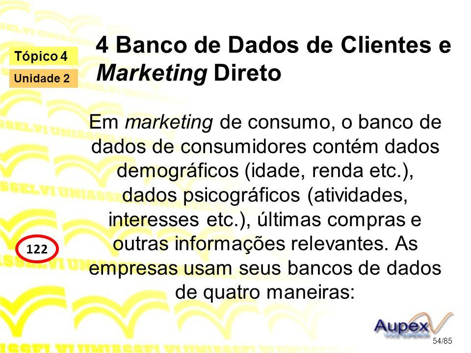 4 Banco de Dados de Clientes e Marketing Direto Em marketing de consumo, o banco de dados de consumidores contém dados demográficos (idade, renda etc.