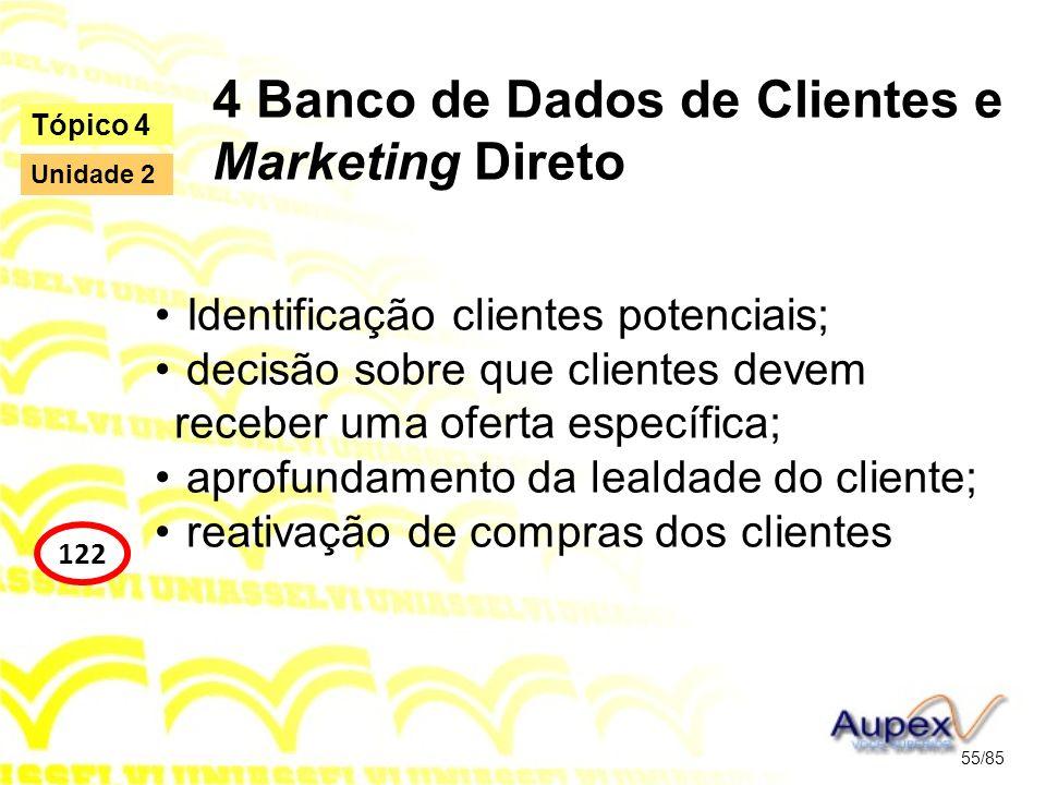 4 Banco de Dados de Clientes e Marketing Direto Identificação clientes potenciais; decisão sobre que clientes devem receber uma oferta específica; apr