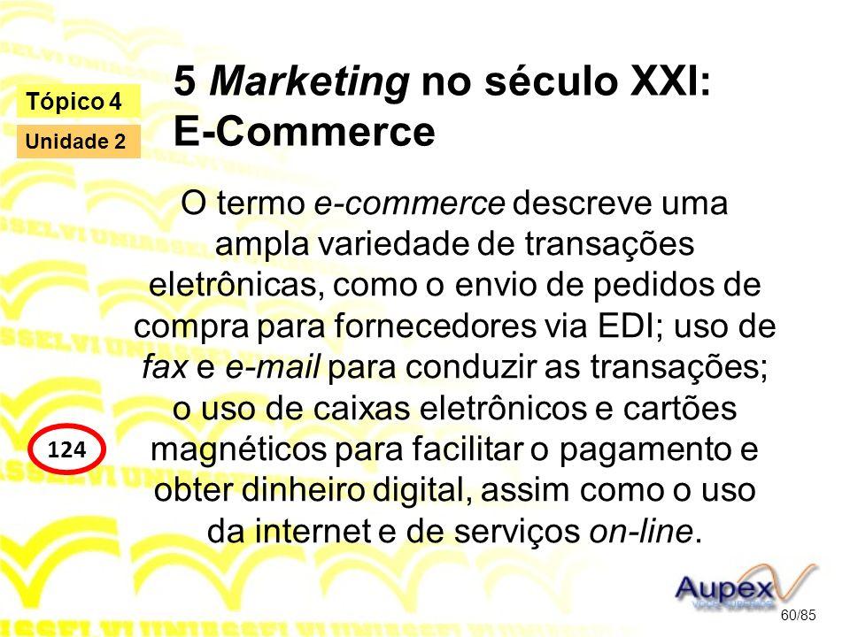 5 Marketing no século XXI: E-Commerce O termo e-commerce descreve uma ampla variedade de transações eletrônicas, como o envio de pedidos de compra par