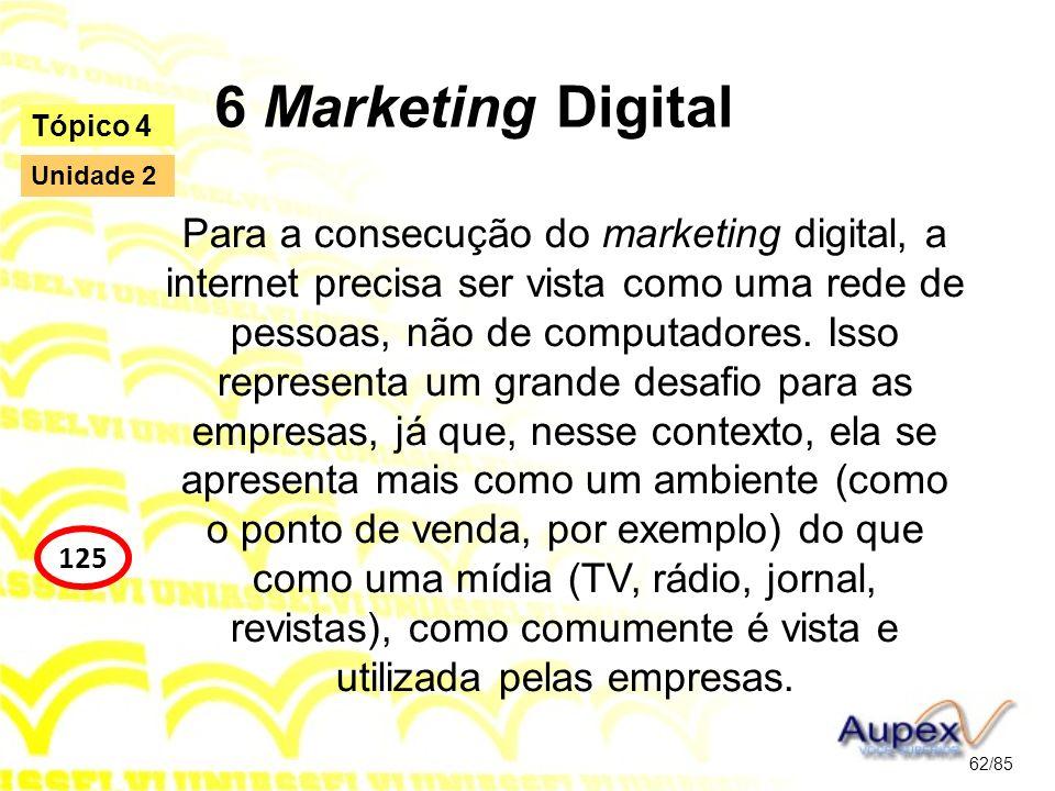 6 Marketing Digital Para a consecução do marketing digital, a internet precisa ser vista como uma rede de pessoas, não de computadores. Isso represent