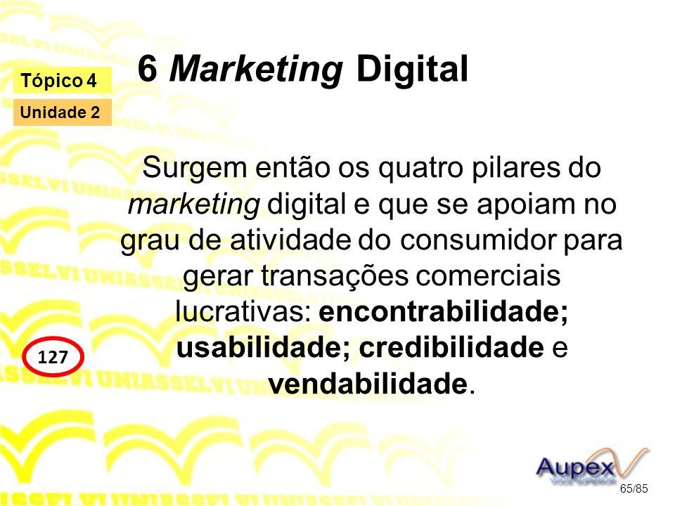 6 Marketing Digital Surgem então os quatro pilares do marketing digital e que se apoiam no grau de atividade do consumidor para gerar transações comer