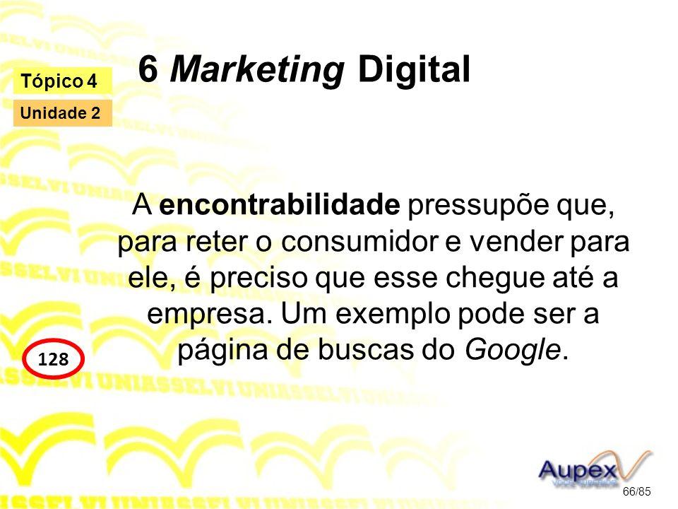 6 Marketing Digital A encontrabilidade pressupõe que, para reter o consumidor e vender para ele, é preciso que esse chegue até a empresa. Um exemplo p