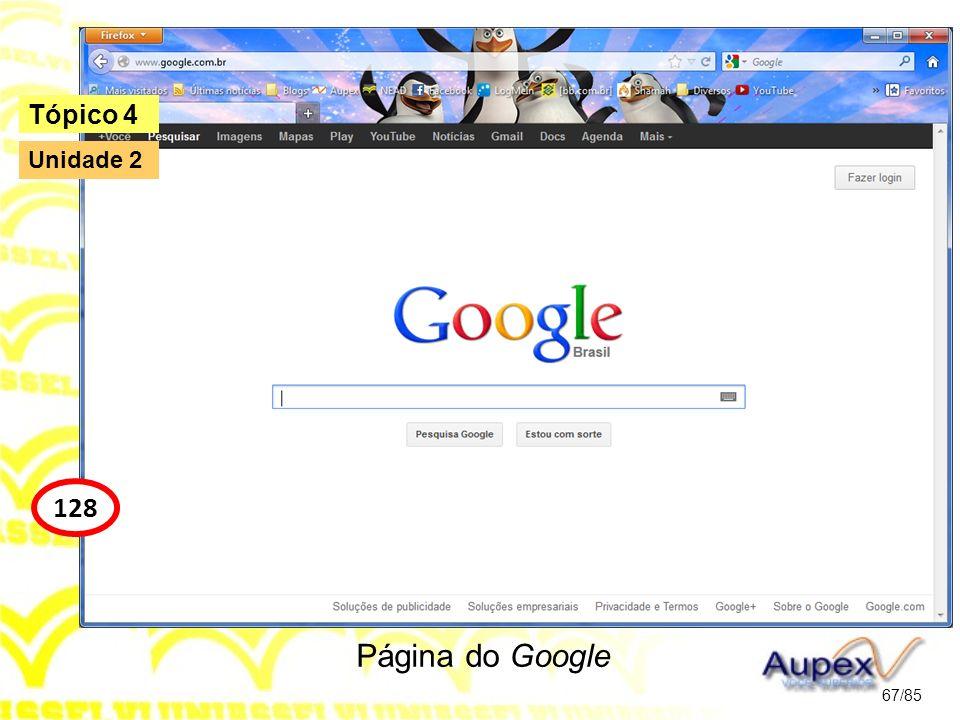 Página do Google 67/85 Tópico 4 128 Unidade 2