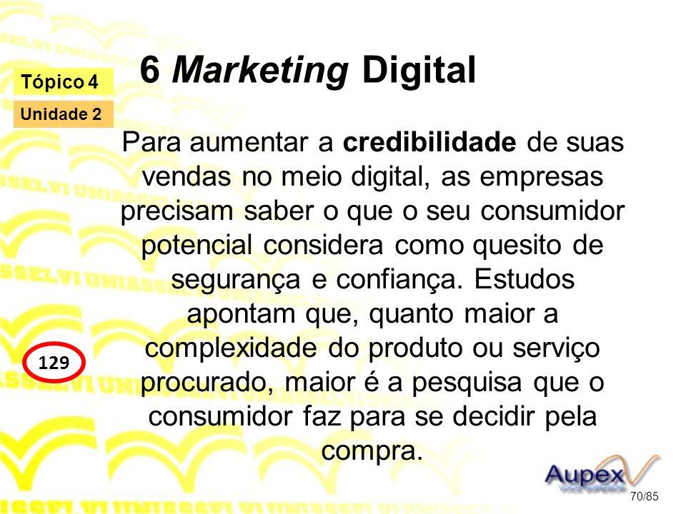 6 Marketing Digital Para aumentar a credibilidade de suas vendas no meio digital, as empresas precisam saber o que o seu consumidor potencial consider