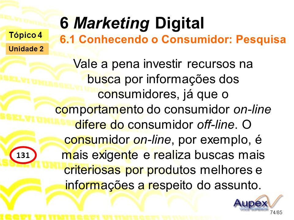 6 Marketing Digital 6.1 Conhecendo o Consumidor: Pesquisa Vale a pena investir recursos na busca por informações dos consumidores, já que o comportame