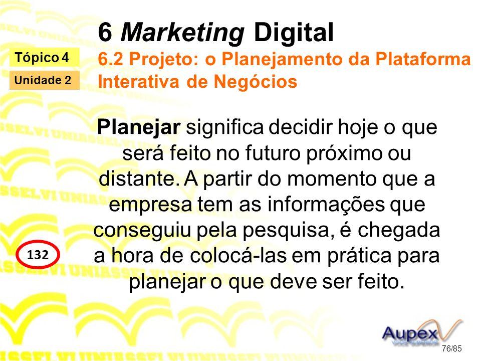 6 Marketing Digital 6.2 Projeto: o Planejamento da Plataforma Interativa de Negócios Planejar significa decidir hoje o que será feito no futuro próxim