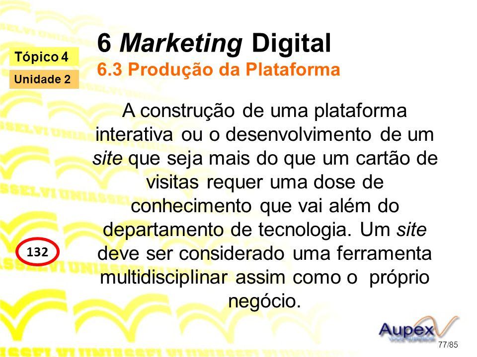 6 Marketing Digital 6.3 Produção da Plataforma A construção de uma plataforma interativa ou o desenvolvimento de um site que seja mais do que um cartã