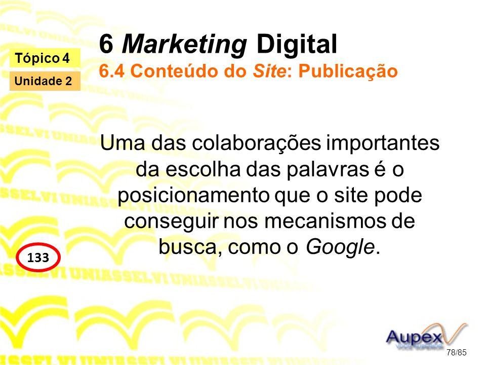 6 Marketing Digital 6.4 Conteúdo do Site: Publicação Uma das colaborações importantes da escolha das palavras é o posicionamento que o site pode conse