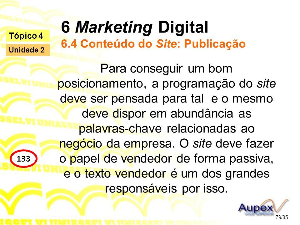 6 Marketing Digital 6.4 Conteúdo do Site: Publicação Para conseguir um bom posicionamento, a programação do site deve ser pensada para tal e o mesmo d