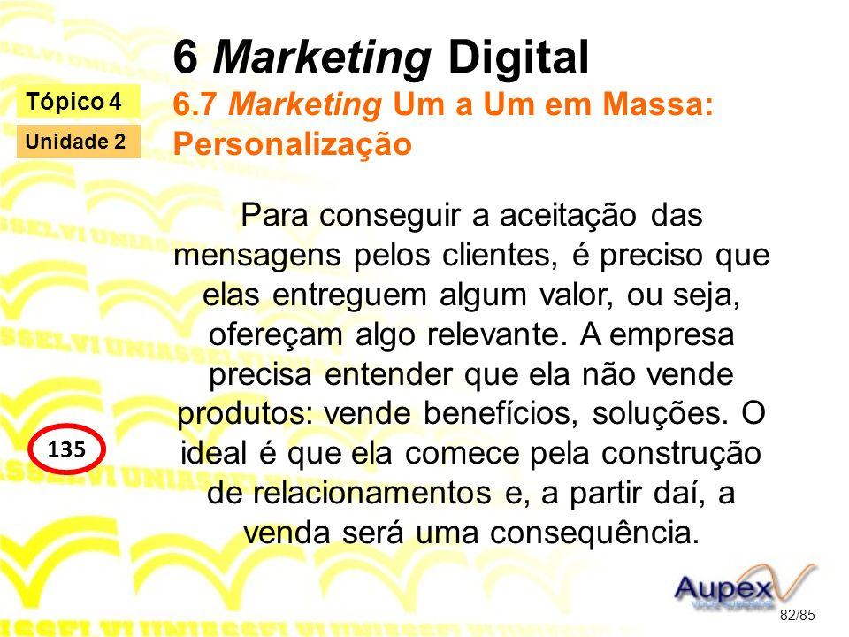 6 Marketing Digital 6.7 Marketing Um a Um em Massa: Personalização Para conseguir a aceitação das mensagens pelos clientes, é preciso que elas entregu