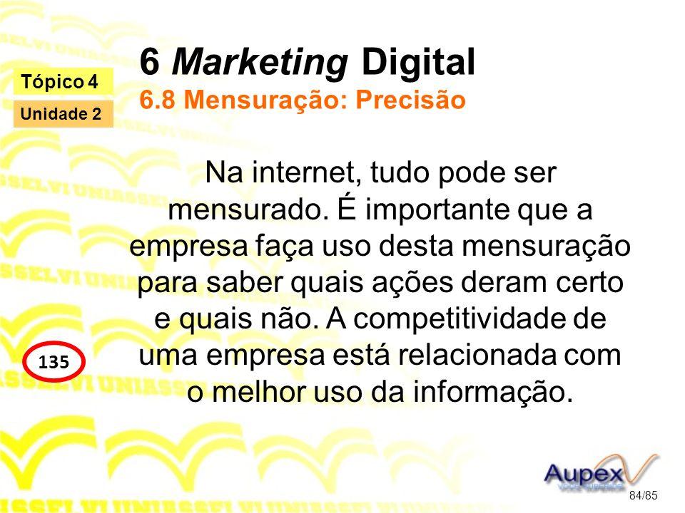6 Marketing Digital 6.8 Mensuração: Precisão Na internet, tudo pode ser mensurado. É importante que a empresa faça uso desta mensuração para saber qua