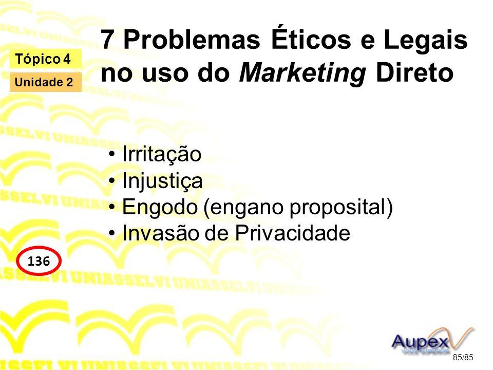 7 Problemas Éticos e Legais no uso do Marketing Direto Irritação Injustiça Engodo (engano proposital) Invasão de Privacidade 85/85 Tópico 4 136 Unidad