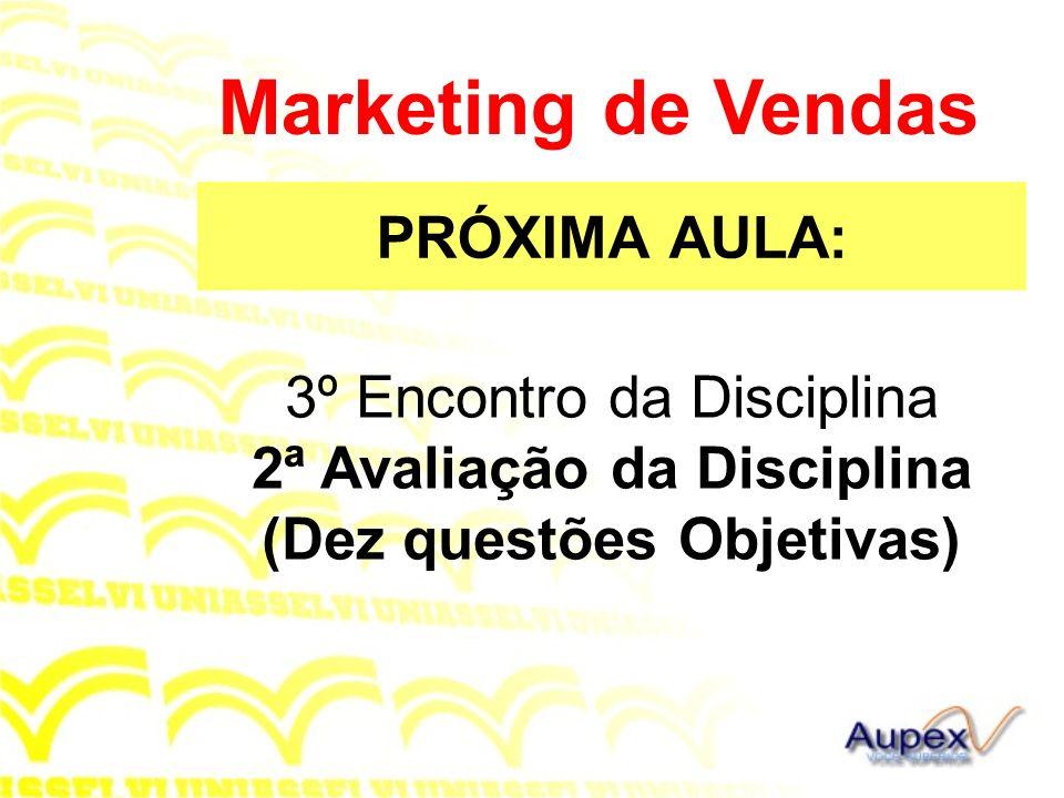PRÓXIMA AULA: Marketing de Vendas 3º Encontro da Disciplina 2ª Avaliação da Disciplina (Dez questões Objetivas)