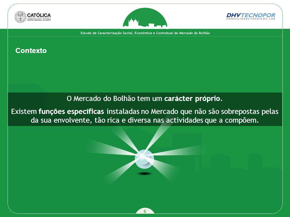 6 Contexto O Mercado do Bolhão tem um carácter próprio. Existem funções específicas instaladas no Mercado que não são sobrepostas pelas da sua envolve
