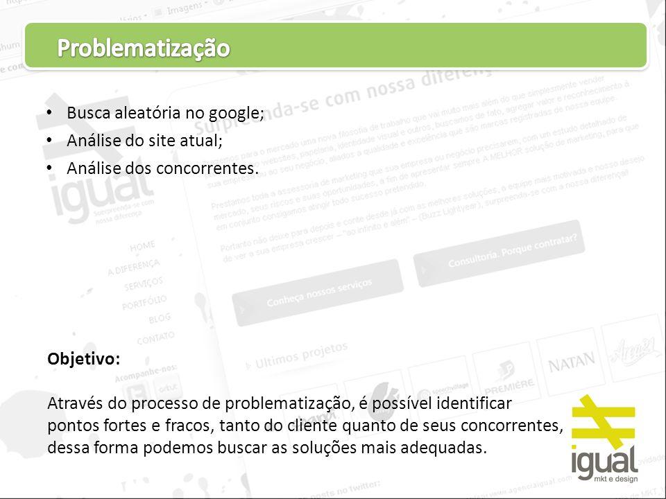 Busca aleatória no google; Análise do site atual; Análise dos concorrentes. Objetivo: Através do processo de problematização, é possível identificar p