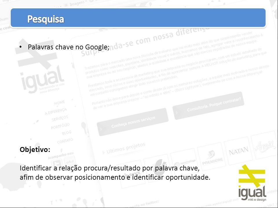 Busca aleatória no google; Análise do site atual; Análise dos concorrentes.