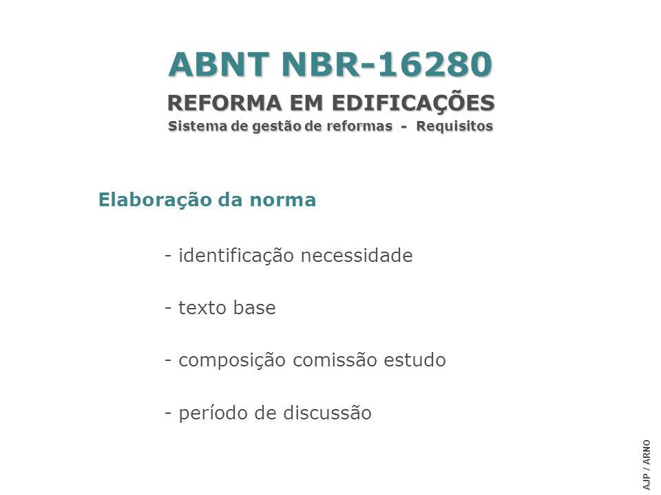 Elaboração da norma - identificação necessidade - texto base - composição comissão estudo - período de discussão ABNT NBR-16280 REFORMA EM EDIFICAÇÕES