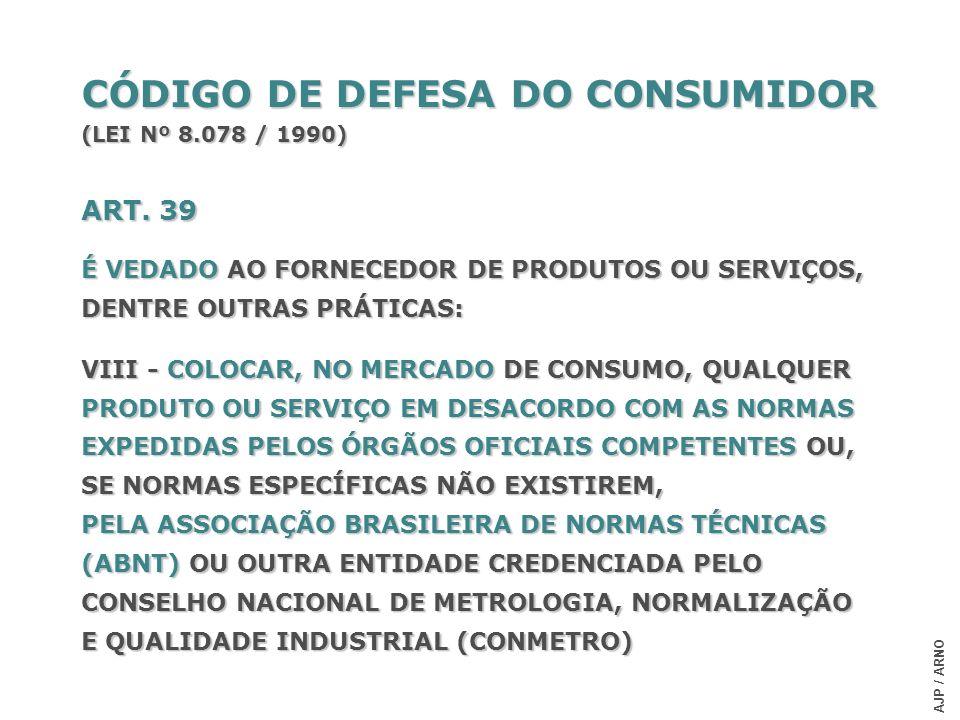 CÓDIGO DE DEFESA DO CONSUMIDOR (LEI Nº 8.078 / 1990) ART. 39 É VEDADO AO FORNECEDOR DE PRODUTOS OU SERVIÇOS, DENTRE OUTRAS PRÁTICAS: VIII - COLOCAR, N