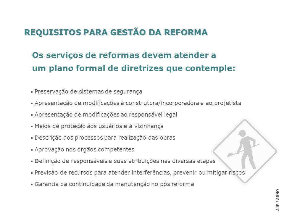 REQUISITOS PARA GESTÃO DA REFORMA Os serviços de reformas devem atender a um plano formal de diretrizes que contemple: AJP / ARNO Preservação de siste