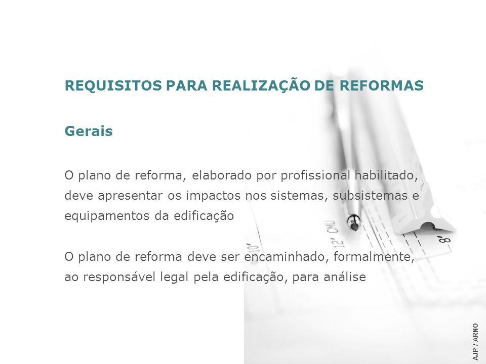 REQUISITOS PARA REALIZAÇÃO DE REFORMAS Gerais O plano de reforma, elaborado por profissional habilitado, deve apresentar os impactos nos sistemas, sub