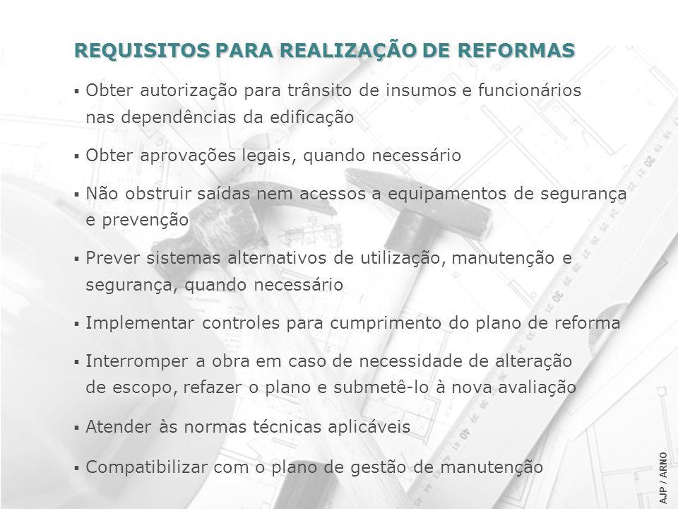 AJP / ARNO REQUISITOS PARA REALIZAÇÃO DE REFORMAS Obter autorização para trânsito de insumos e funcionários nas dependências da edificação Obter aprov