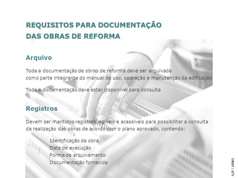 REQUISITOS PARA DOCUMENTAÇÃO DAS OBRAS DE REFORMA Arquivo Toda a documentação de obras de reforma deve ser arquivada como parte integrante do manual d