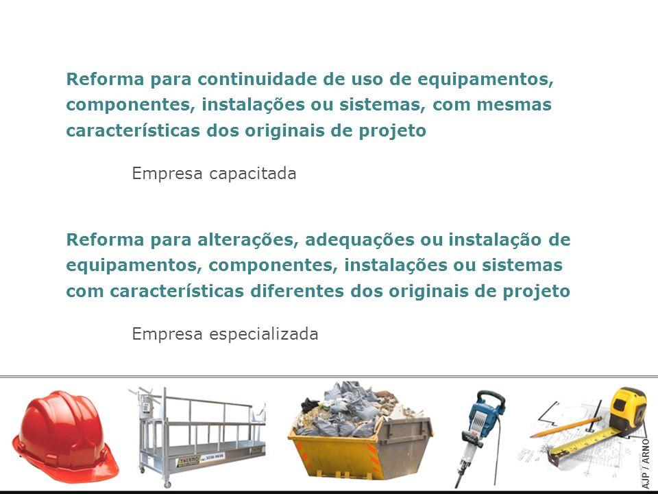 Reforma para continuidade de uso de equipamentos, componentes, instalações ou sistemas, com mesmas características dos originais de projeto Empresa ca