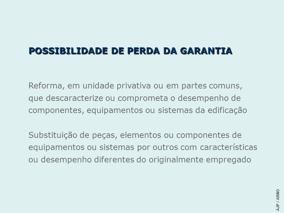 POSSIBILIDADE DE PERDA DA GARANTIA Reforma, em unidade privativa ou em partes comuns, que descaracterize ou comprometa o desempenho de componentes, eq