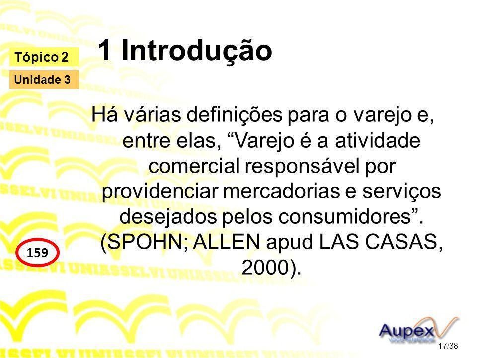 1 Introdução Há várias definições para o varejo e, entre elas, Varejo é a atividade comercial responsável por providenciar mercadorias e serviços desejados pelos consumidores.