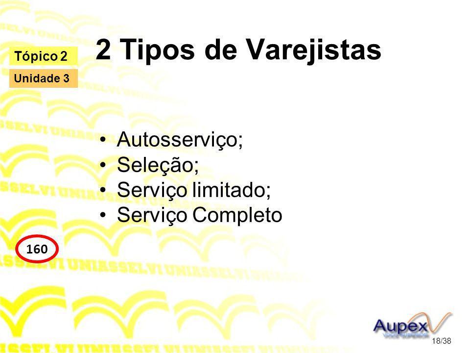 2 Tipos de Varejistas Autosserviço; Seleção; Serviço limitado; Serviço Completo 18/38 Tópico 2 160 Unidade 3