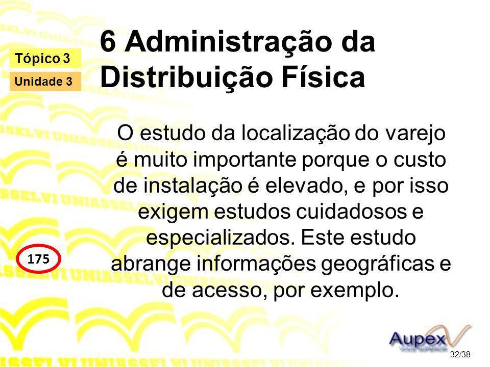 6 Administração da Distribuição Física O estudo da localização do varejo é muito importante porque o custo de instalação é elevado, e por isso exigem estudos cuidadosos e especializados.