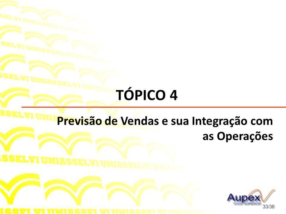 TÓPICO 4 33/38 Previsão de Vendas e sua Integração com as Operações