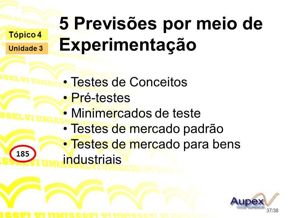 5 Previsões por meio de Experimentação Testes de Conceitos Pré-testes Minimercados de teste Testes de mercado padrão Testes de mercado para bens industriais 37/38 Tópico 4 185 Unidade 3