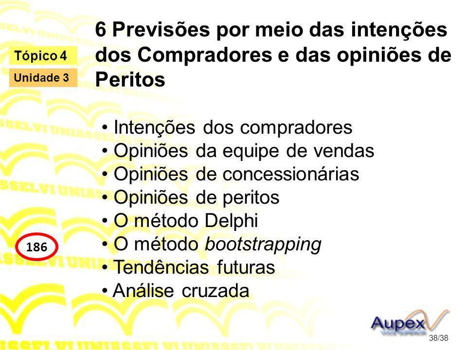 6 Previsões por meio das intenções dos Compradores e das opiniões de Peritos Intenções dos compradores Opiniões da equipe de vendas Opiniões de conces