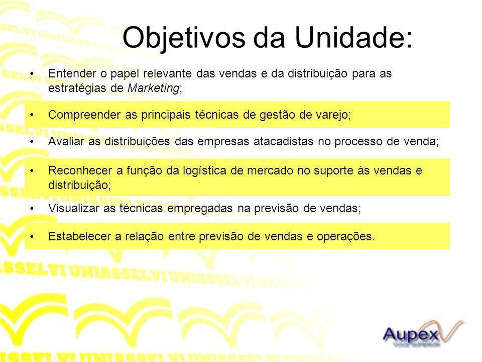 Objetivos da Unidade: Entender o papel relevante das vendas e da distribuição para as estratégias de Marketing; Compreender as principais técnicas de